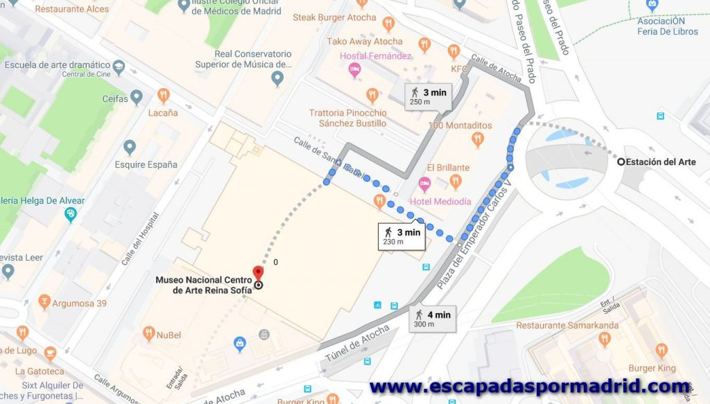 foto como llegar al Museo Reina Sofía. Plano de Google Maps