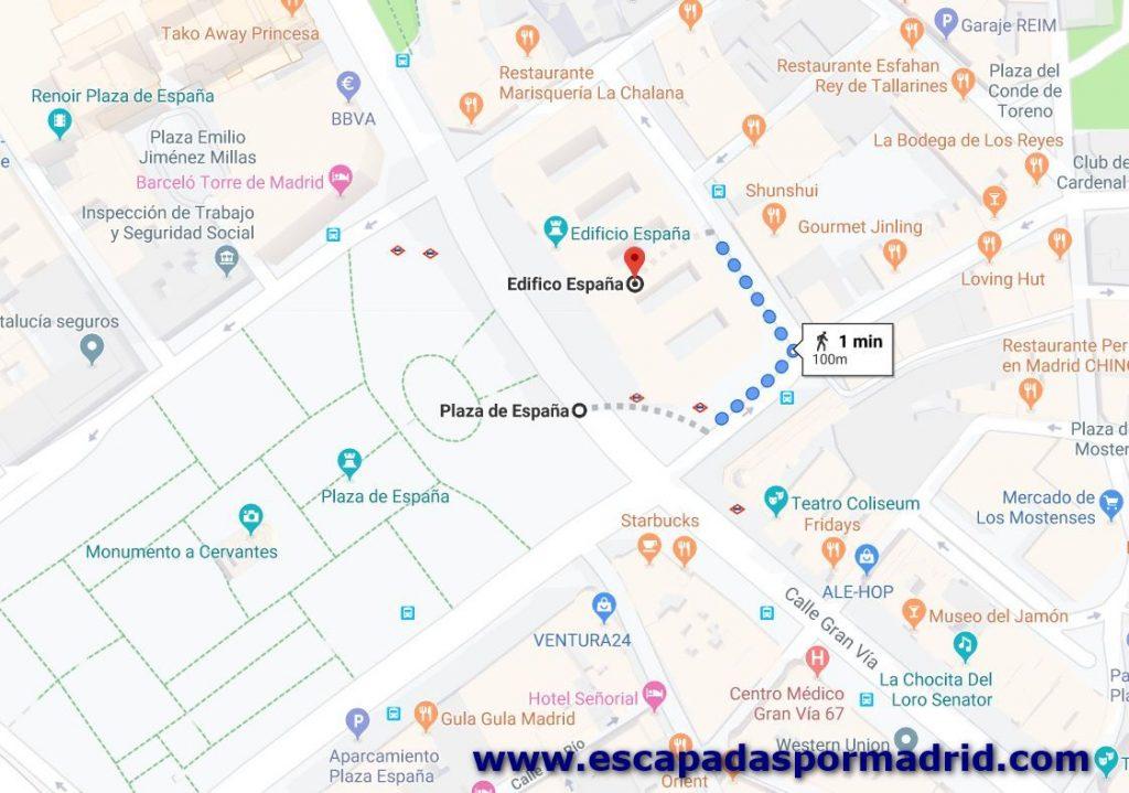 foto de Cómo llegar al Edificio España. Sobre mapa de Google Maps