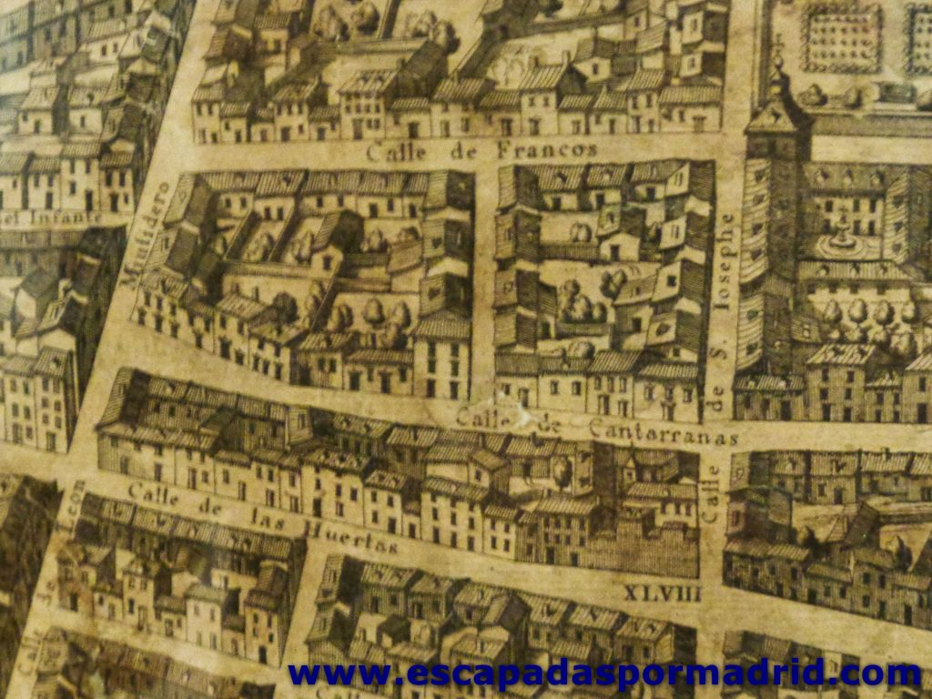 foto de la Casa de Quevedo sobre el mapa de Pedro Texeira (1.656)